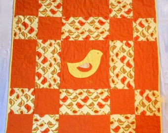 Flannel Baby Quilt with Appliqued Bird design, Quiltsy Handmade