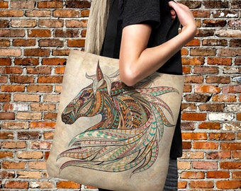 "Tote Bag-  Boho Chic Horse Head-Over Sized 18"" x 18"" Beach Bag-Everything Bags"