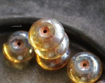 10% off GOLDEN SAUCERS .. NEW 6 Picasso Czech Glass Beads 7x12mm (5355-6)