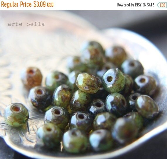 10% off MOSSY PEBBLES .. 30 Premium Picasso Czech Rondelle Beads 3x5mm (23-st)