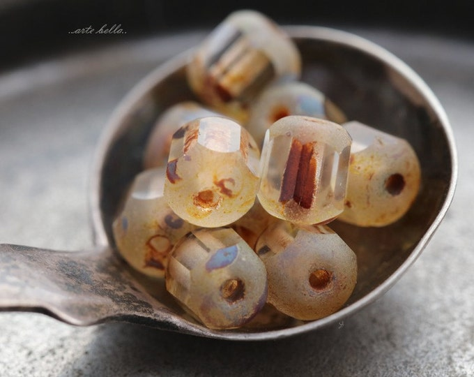 CLEAR BLITZ .. 10 Picasso Czech Cathedral Beads 6x5mm (5459-10)