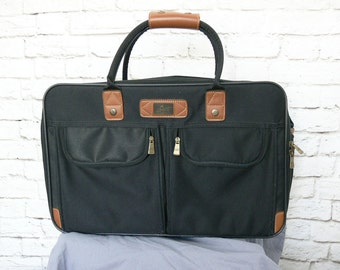 Vintage Skyway Navy Blue Travel Carry On Overnight Bag Suitcase Handles Strap Fabric Luggage Expandable