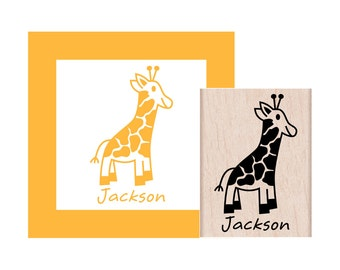 Giraffe Personalized Rubber Stamp