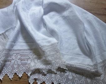 vintage jacquard lace edge towel