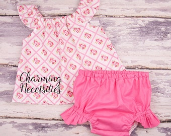 Baby Girl Clothes, Toddler Girl Clothes, Baby Girl Coming Home Outfit,  Baby Shower,  Flutter Top and Diaper Cover in Serendipity Pink