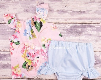 SALE Baby Girl Clothes, Toddler Girl Clothes, Baby Girl Coming Home Outfit,  Baby Shower,  Flutter Top and Diaper Cover in Delightful Pink
