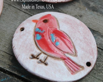 Pottery Cuff Bead, The Elli with a Sweet Little Bird in Red