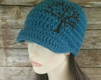 Womens Beanie with Tree of Life, Tree Hat, Wool Hat, Tree of Life Brimmed Hat, Teal and Brown Beanie, Snowboard Hat, MADE TO ORDER