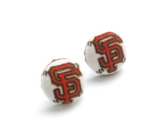 Fabric Button Earrings, Giants Baseball, Baseball Earrings, SF Giants Baseball, Orange and Black, Button Covered Jewelry, Earrings