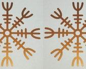 Viking HELM of AWE rune copper vinyl decals SET of 2