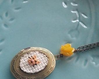 ON SALE Yellow Kitty Cat Cross stitch Locket necklace- xstitch fiber art wearable art  crossstitch