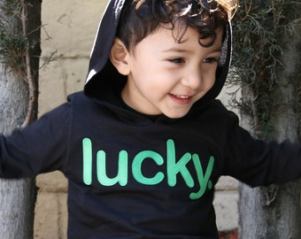LUCKY. Long Sleeve Hoodie Black w/Green, Toddler Baby Boy, Girl, St. Patrick's Day, Etsy kid's fashion, shirt