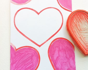 large heart hand carved rubber stamp, handmade rubber heart stamp