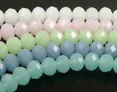 Glass Bead 12 Rondelle Faceted Frosted Opaque 10mm x 7mm Color CHOICE (1014gla10m1)