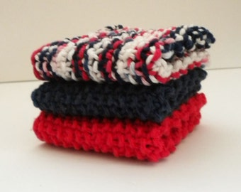 Red White Blue Dish Cloth Set / Cotton Dish Cloths / Americana Dish Rags / Hand Knit Cloths / Red White Blue Wash Cloths /