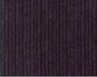 """End of Bolt - 1 yd + 8"""" continuous left * MODA Hazelwood Floral Herringbone Charcoal Black 36017 22 One Canoe Two"""