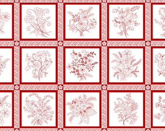 White Red Blocks Panel 8366-08 Redwork Revival Color Principle Henry Glass Red & White Vintage Style Antique, Embroidery Red Work