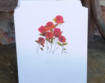 Tiny Pink Poppies, Any Occasion Notecard, blank inside