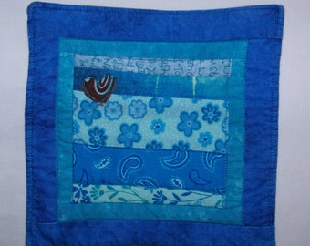 Scrappy Strings and Selvages Blue Coaster #5