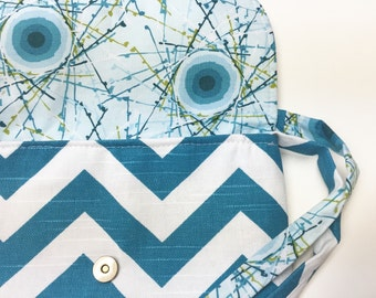Mini Messenger Bag in Teal Chevron - Small Messenger Bag - Cross Body Bag - Concert Bag