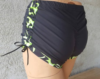 Limited Edition Cracker Wear! Black and Neon Green Flames Spandex Lift and Separate Booty Scrunch Butt Shorts Roller Derby Yoga Dance XL