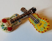 SALE - Bob Wills And His Texas Playboys Guitar -  Embroidered Mustard Yellow Felt & Leather Novelty Brooch Pin