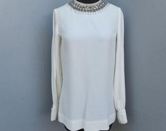 Vintage I. MAGNIN 1980s Beaded Creamy White Blouse, Tunic Style Blouse