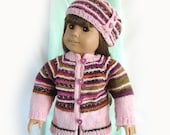Striped Doll Sweater and Hat 18 Inch Doll Knit Sweater Jacket and Hat Knit Doll Jacket Striped Doll Jacket and Hat Am Girl Doll Knit Sweater