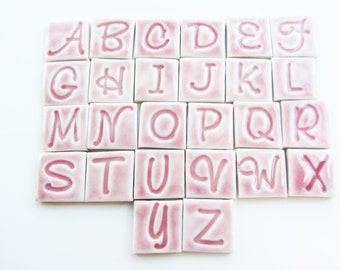 15 pink ceramic letter, number, shapes mosaic tiles, mosaic pieces,mosaic making