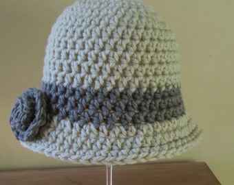 PATTERN: Ladies Cloche Hat with Rose Crochet Pattern