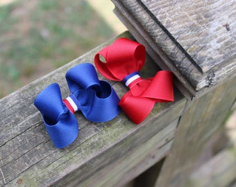 """Set of Two 3"""" Red White and Blue Boutique Hairbows"""