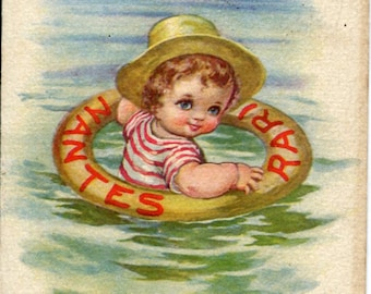vintage ITALIAN POSTCARD, artist signed Little Sailor in life ring floating, boy wearing cute hat vintage postcard, SharonFosterVintage