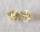 1950s Vintage Cream Enameled Rose Earrings Clip On Style
