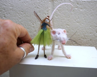 ooak little miniature poseable mouse and fairy ( #6 ) polymer clay art doll by DinkyDarlings elf pixie fairy faery