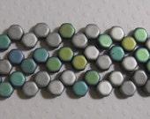 Honey Comb Beads 6mm - 2 Hole Czech -Glittery Matte Silver - 30 Beads