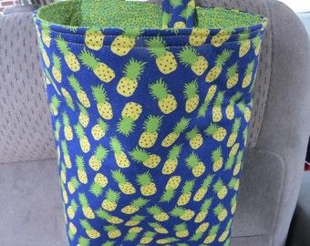 Trash Bin, Car Trash Bag, Cute Car Accessories, Headrest Bag, Trash Container, Pineapples on Navy