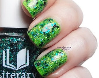 Louis - Black and Green Glitter Topper Polish