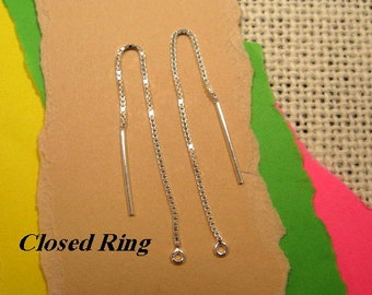 3 Inch Sterling Silver Ear Threads with Closed Ring - 1 Pair