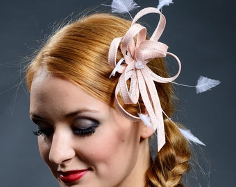 Blush pink fascinator with trimmed feathers for your special occasions- New style for S/S2016
