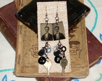 Victorian Steam Punk Inspired Antique Gem Tin Type Photo Dangle Earrings Key Clock Hand Bakelite Button Gina's Creations Original