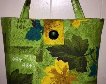 Fall Inspired Vintage Barkcloth purse