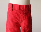 RESERVED~1970s Red Corduroy Pants~Size 9 Months
