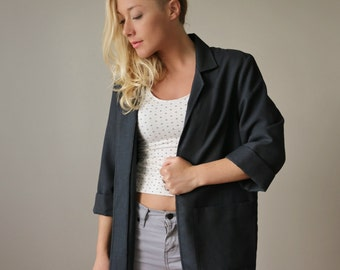 1980s Black Linen Blazer >> Size Extra Small to  Small