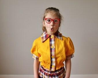 1970s Sushine Plaid Skirt & Top Set~Size 6/8