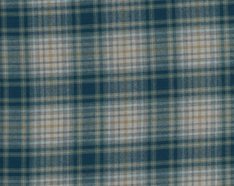 "PENDLETON Blue & Tan Plaid Wool Shirting Fabric. 60"" wide. 1 Yard."