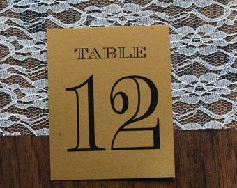 Black and Gold Art Deco Table Numbers - Kerry and Ralph