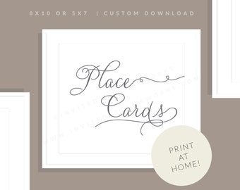 Printable Place Card Sign | Printable Place Card Sign | Downloadable Wedding Sign | Reception Sign | Jessica Collection
