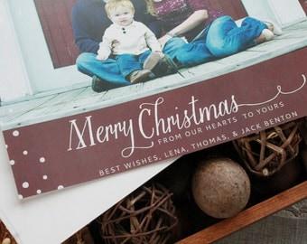 Merry Christmas Snow Card - Chalkboard Photo Card, Family Photo Card, Holiday Photo Card, Christmas Card, Baby Photo Christmas Card