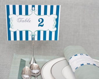 Navy Blue Stripes Table Number Cards - Sarah and Drew