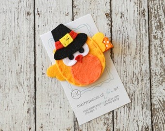 SALE Felt Pilgrim Owl Hair Clip - Fall Autumn Thanksgiving Clippie - Orange and Yellow - Holiday Hair Bows - Hairbow with non slip grip